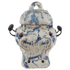 18th Century Glazed Terracotta Warmer from the Estate of Paul & Bunny Mellon