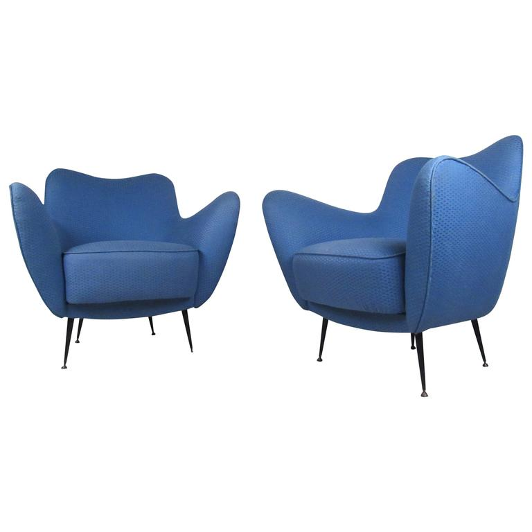 Pair of Exquisite Mid-Century Italian Sculpted Lounge Chairs