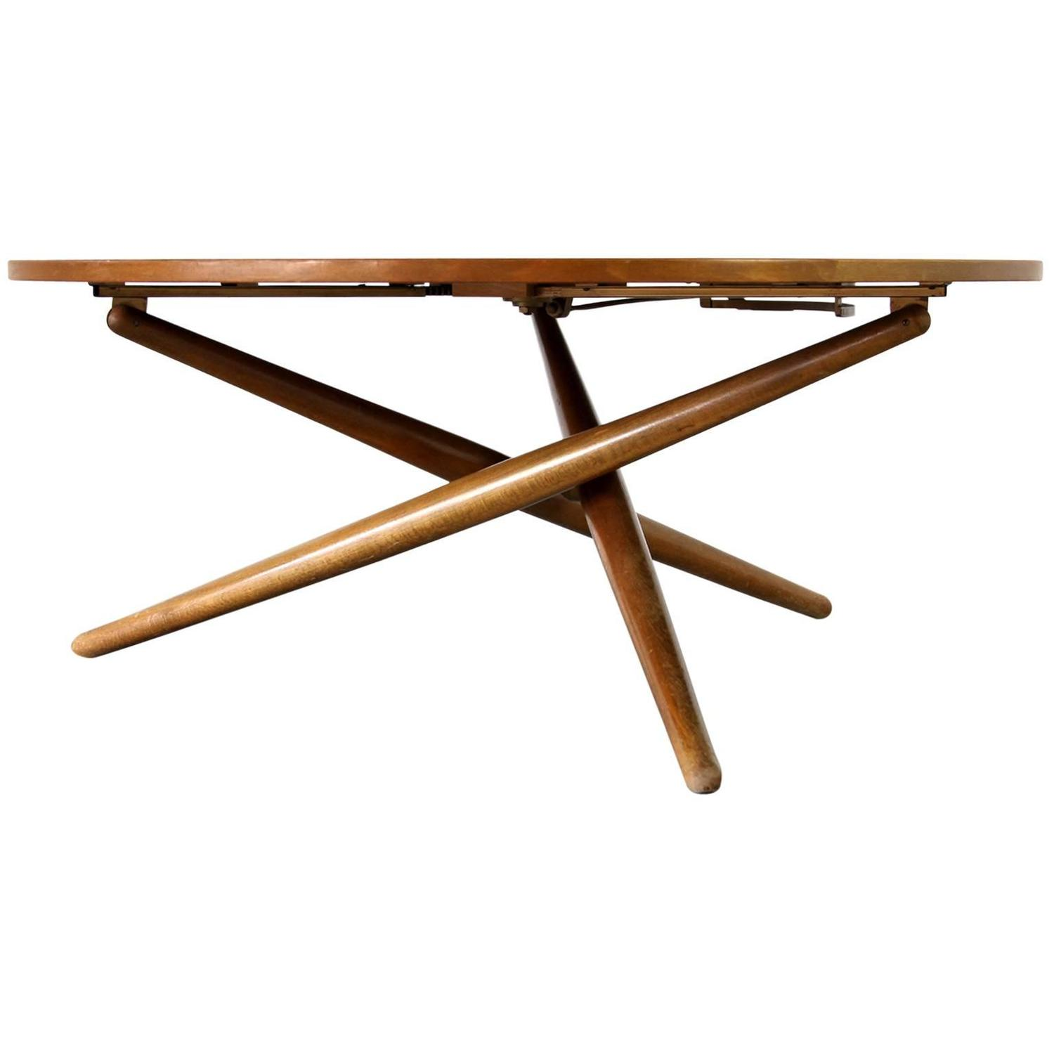 Height adjustable coffee table by jurg bally for wohnhilfe for Adjustable coffee table