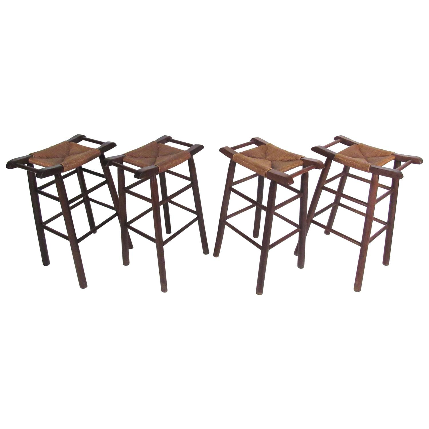 Unique Vintage Set Of Rush Seat Bar Stools In The Style Of