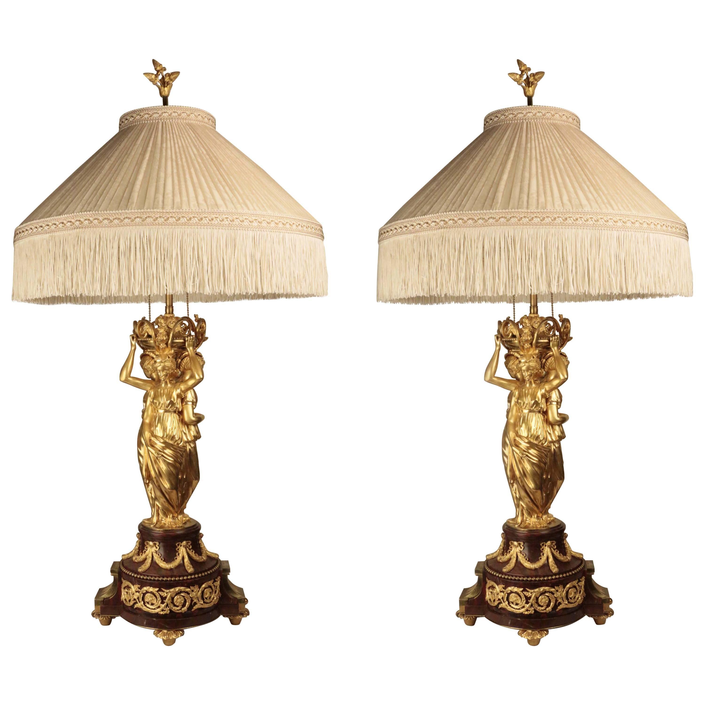 Pair Gilt Bronze Figural Table Lamps