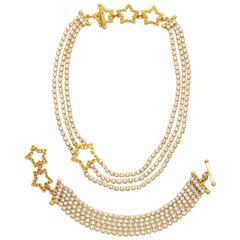 YSL Gold and Diamante Star Motif Necklace and Bracelet Set