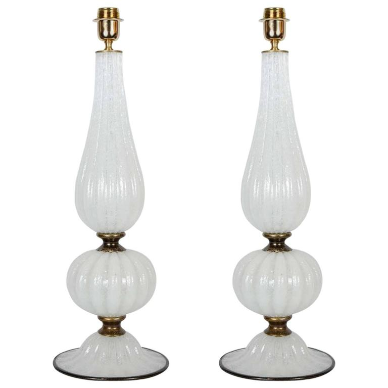 Pair of Table Lamps in Murano Glass Signed Toso Murano