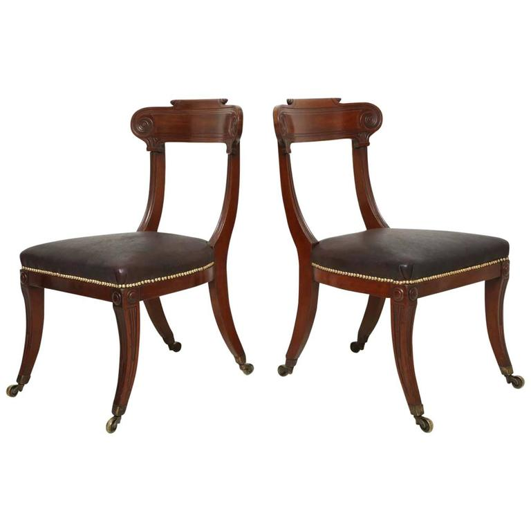 Pair of English Regency Mahogany Side Chairs 1