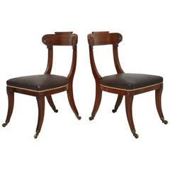 Pair of English Regency Mahogany Side Chairs
