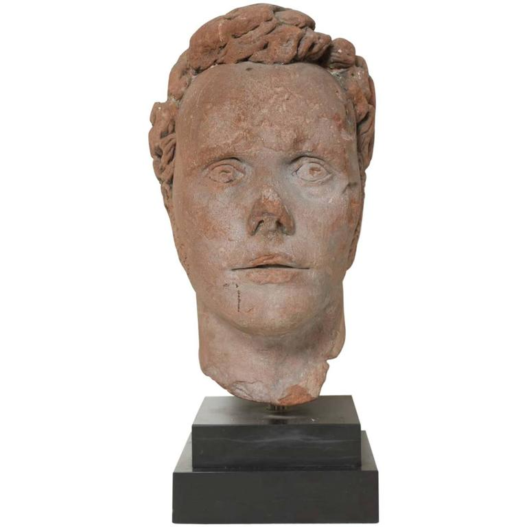 Early 19th Century Continental Carved Red Stone Bust 1