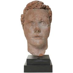 Early 19th Century Continental Carved Red Stone Bust
