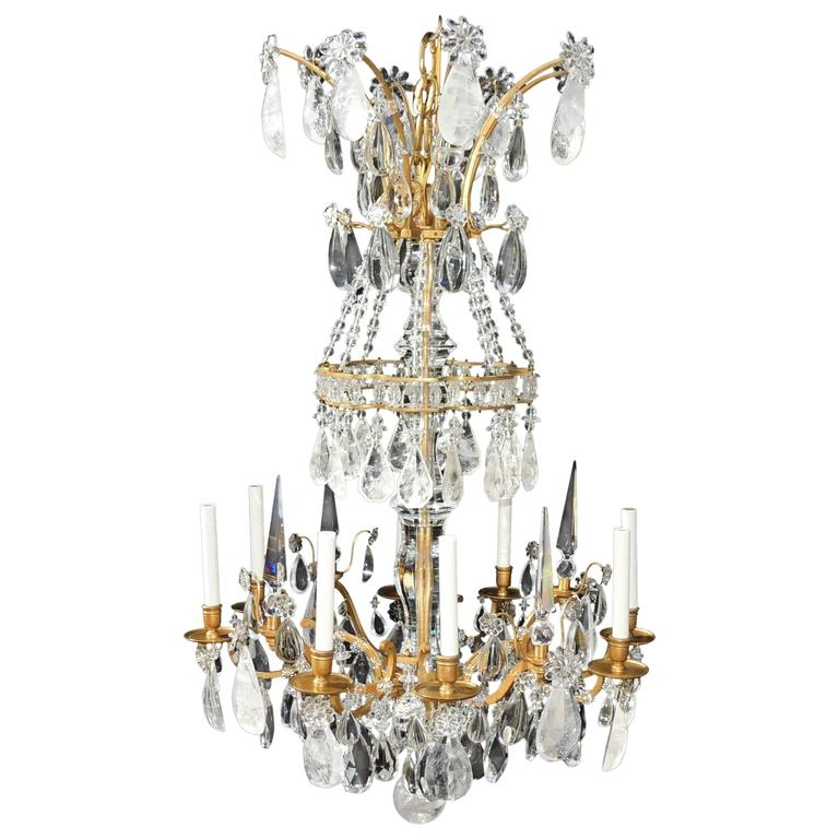 Magnificent French Dore Bronze Rock Crystal Louis XVI Fine Gilt Huge Chandelier For Sale
