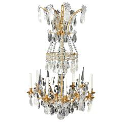 Magnificent French Dore Bronze Rock Crystal Louis XVI Fine Gilt Huge Chandelier