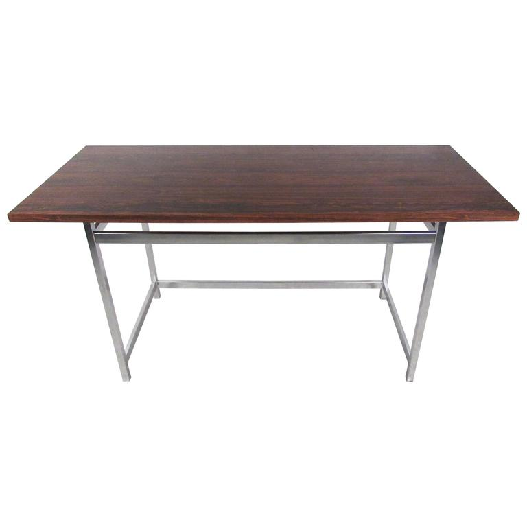 Mid-Century Modern Rosewood and Chrome Console Table