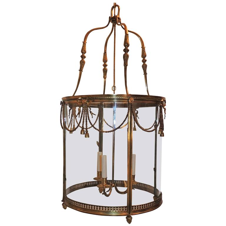 Palatial Large French Louis XVI Gilt Bronze Ribbon & Bow Swag Lantern Chandelier