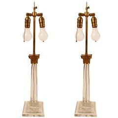 Pair of Classical Glass Column Table Lamp with Brass Corinthian Capital