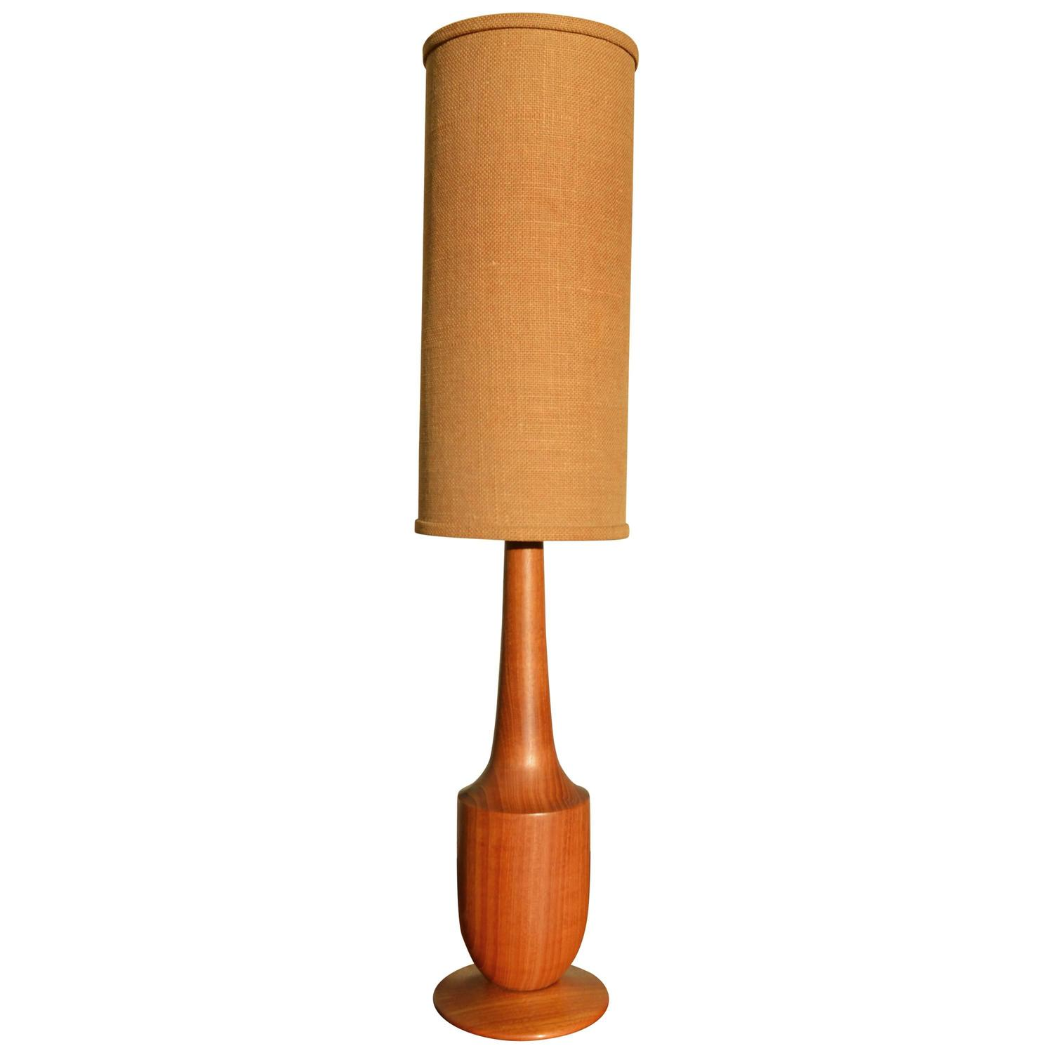Solid Teak Sculptural Tall Lamp with Jute Cylinder Shade ...
