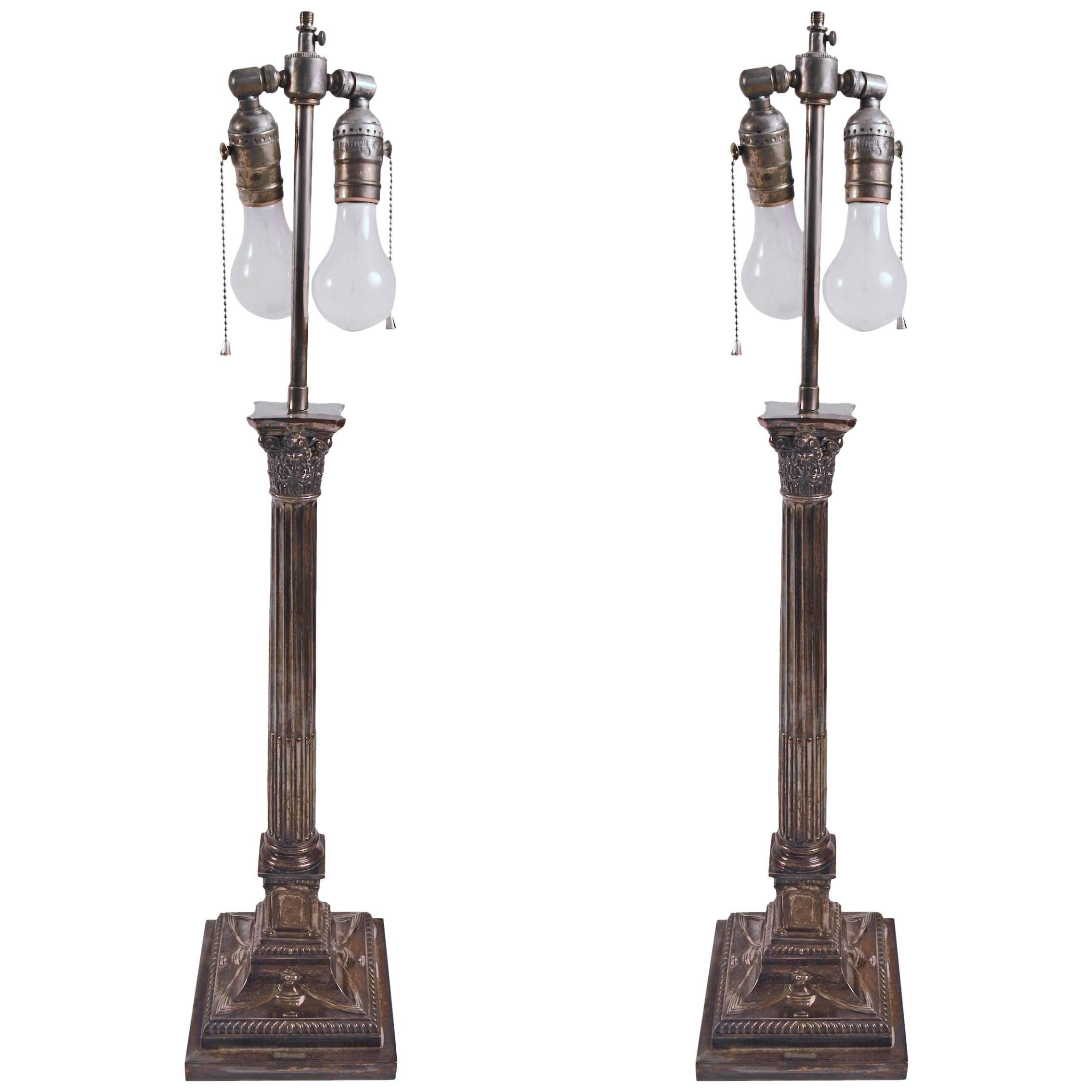 Pair of Classical Silver Plate Column Lamps