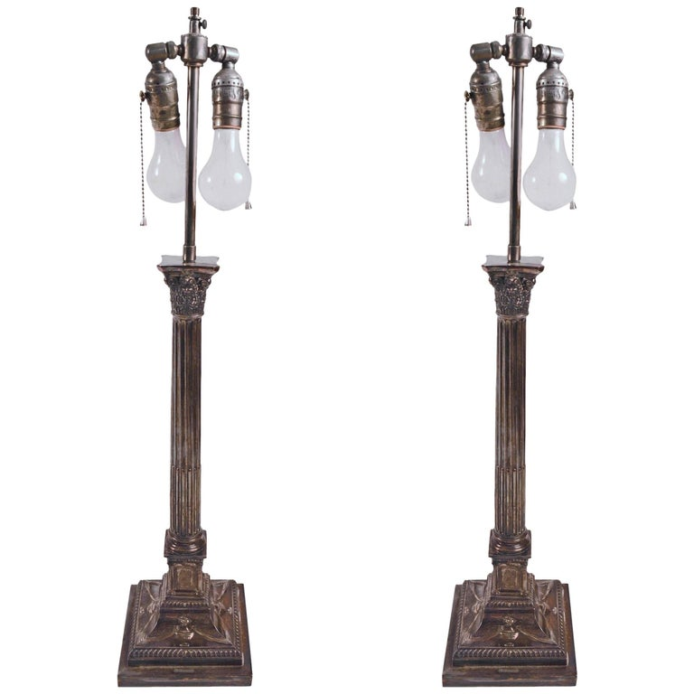 Pair of Classical Silver Plate Column Lamps For Sale