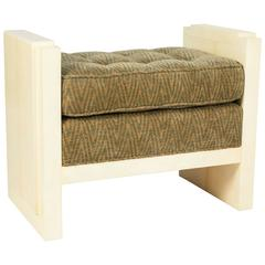 Art Deco Parchment and Upholstered Bench by Garrison Rousseau