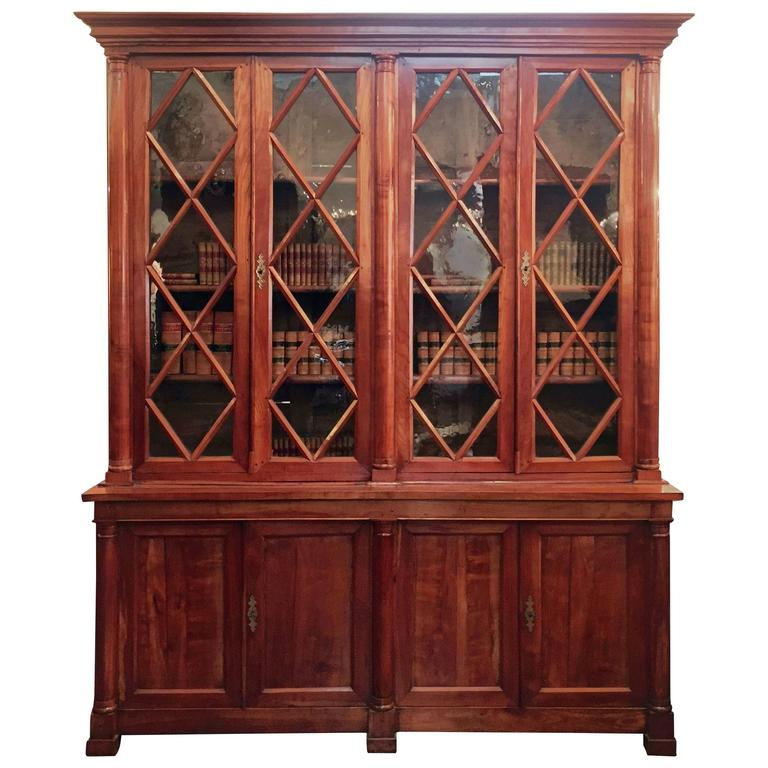 Large French Glazed Front Bibliotheque or Bookcase of Cherry For Sale