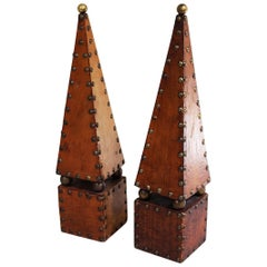 English Decorative Leather and Brass Obelisks (Priced as a Pair)