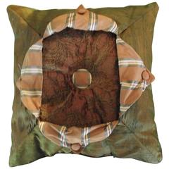 Throw Pillow in Gold Silk and (orange) Chenille/ Button Down Tab Pillow