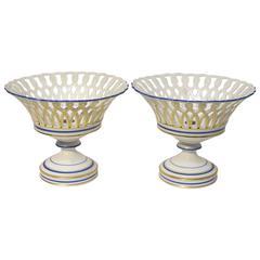 Paris Porcelain Reticulated Baskets Pair