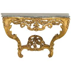 19th Century Louis XV Style Gilded Console
