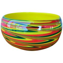 Large Dramatic Murano Cased Glass Swirl Bowl in Yellow, Red and Green