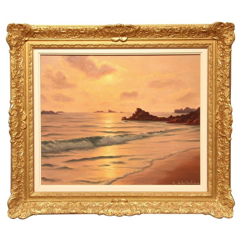 Brittany Coast Sunset Oil Painting by Roger de la Corbiere