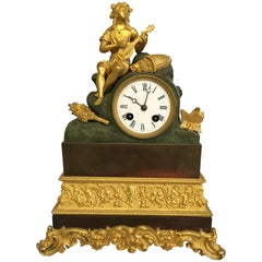 Antique Bronze and Partly Gilded Bracket Clock with Sitting Dionysus