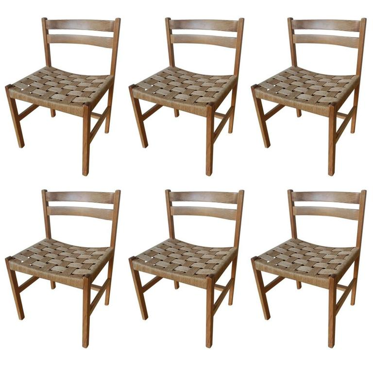 massive oregon pine dining chairs with paper cord for sale at 1stdibs