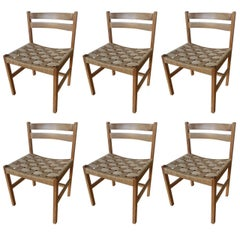 Set of Six Massive Oregon Pine Dining Chairs with Paper Cord
