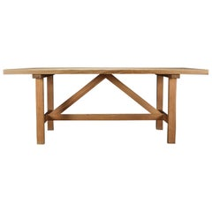 Nice and Massive Oregon Pine Dining Table with Wonderful Slat Extension