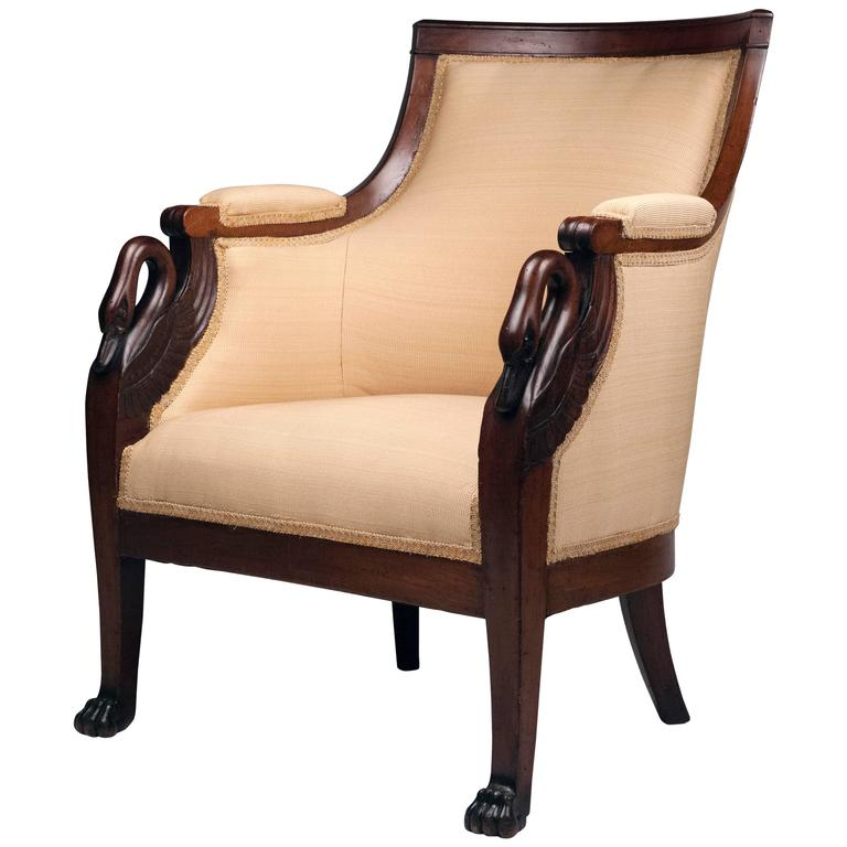 French Armchair With Carved Swan Motif 1