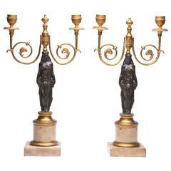 Pair of Neoclassical German Candelabra