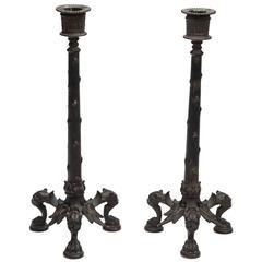 Two Neo-Pompeian Style Candlesticks