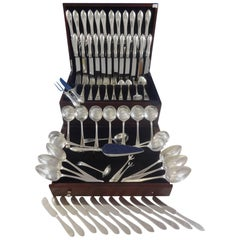 Pointed Antique Engraved Dominick & Haff Sterling Silver Flatware Service Set