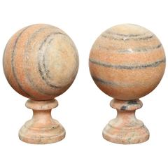 Pair of Marble Balls on Stand