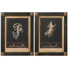 Two 19th Century Hand Colored Allegorical Prints of Night and Day
