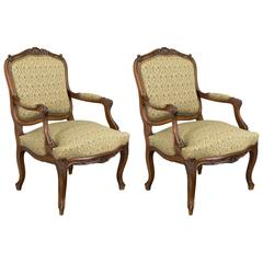 Pair of 19th Century Louis XV Style Fauteuils