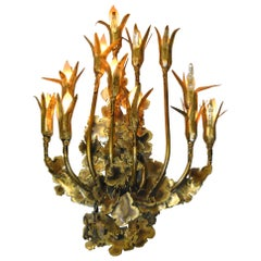 """Brutalist Wall Sconce 12 Light Wall Sconce """"Lotus"""" by Tom Greene"""