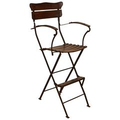 French Forged Iron and Wooden Folding Umpire's Chair, circa 1900