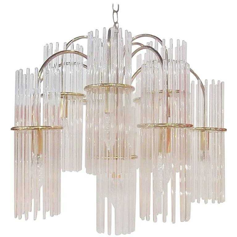Lightolier midcentury glass rod chandelier at 1stdibs lightolier midcentury glass rod chandelier for sale audiocablefo