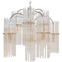 Lightolier Midcentury Glass Rod Chandelier