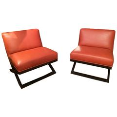 Pair of Rich Leather Club Chairs with Ebonized Bases