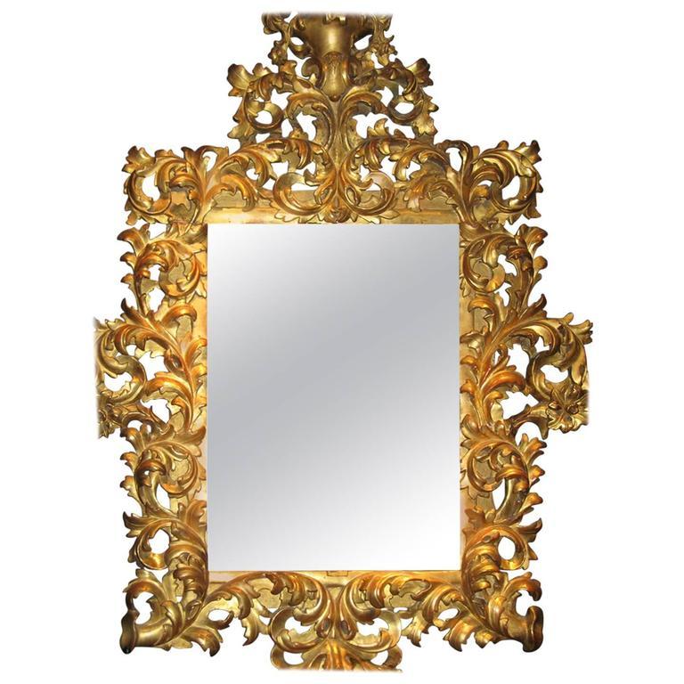 Dramatic italian baroque giltwood mirror for sale at 1stdibs for Italian baroque mirror
