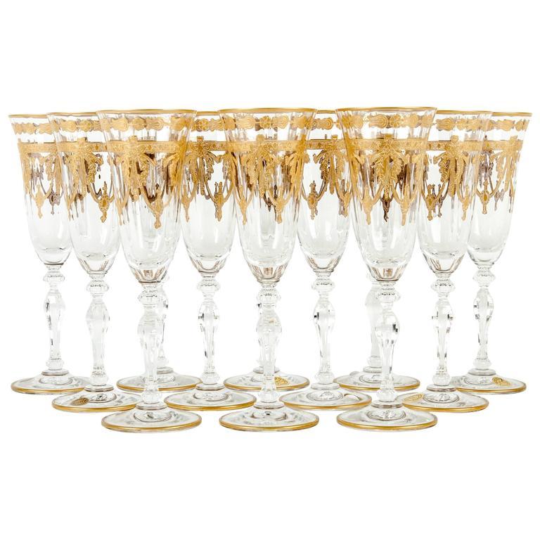 murano crystal champagne flute with 24 karat gold design at 1stdibs. Black Bedroom Furniture Sets. Home Design Ideas