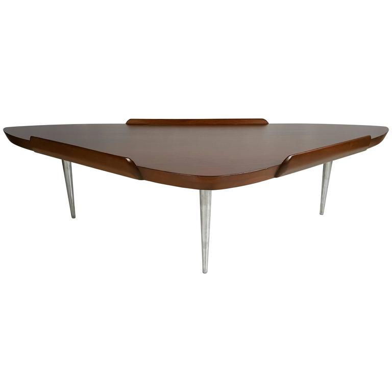 mid century modern walnut and aluminum guitar pick cocktail table for sale at 1stdibs. Black Bedroom Furniture Sets. Home Design Ideas