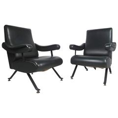 Pair Vintage Vinyl Recliner Lounge Chairs
