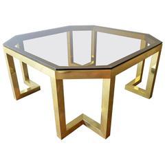 Italian Brass Coffee Table by Romeo Rega