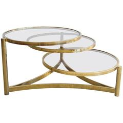 Milo Baughman Tri Level Brass and Glass Swivel Coffee Table