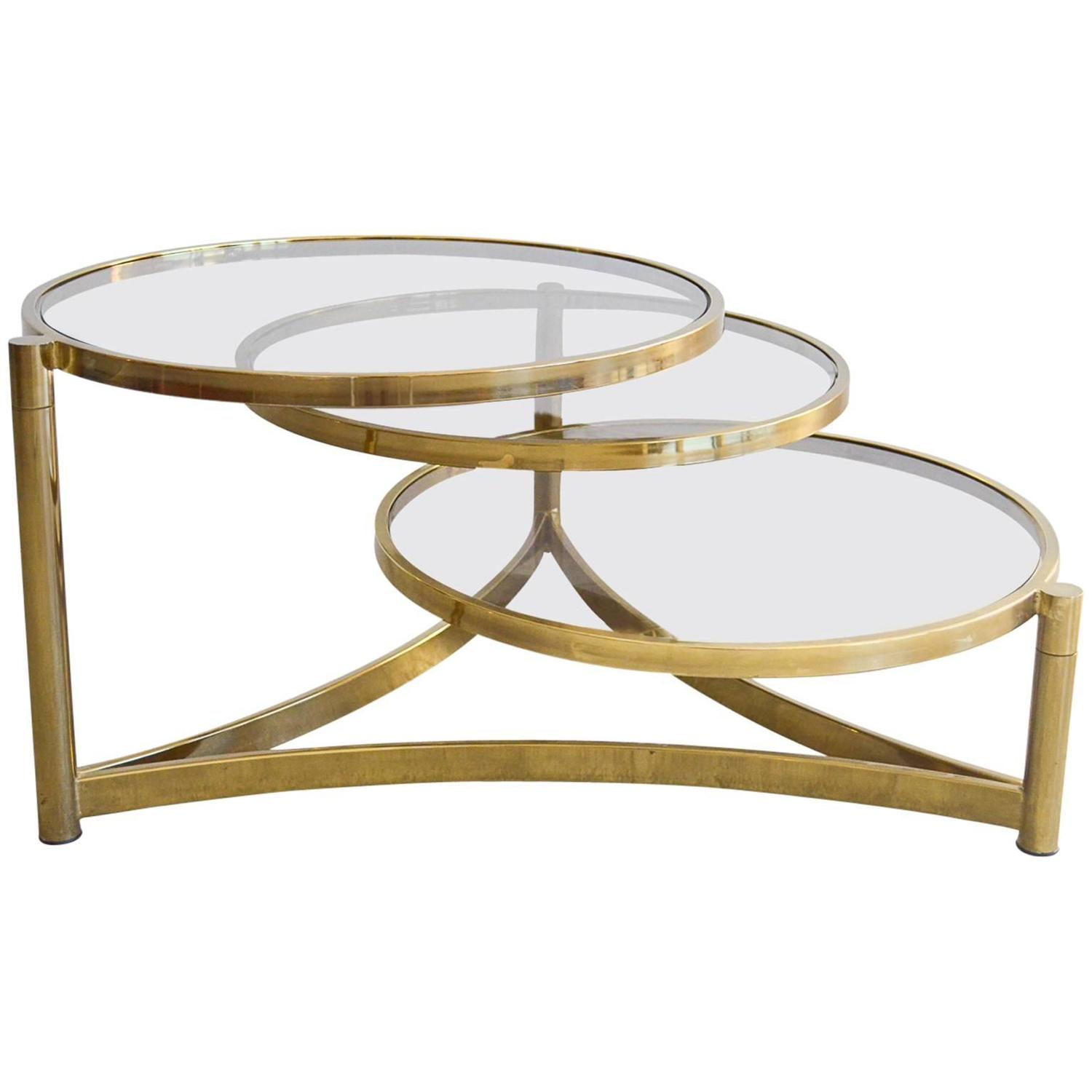 Milo Baughman Tri Level Brass and Glass Swivel Coffee Table at 1stdibs